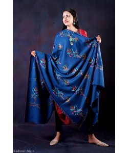 Blue Sozni Embroidered Handwooven Pashmina shawl