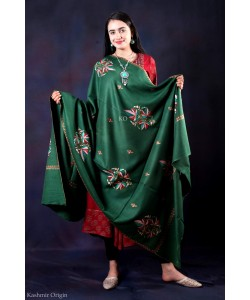 Green Sozni Embroidered Handwooven Pashmina shawl
