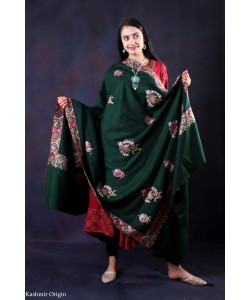 Fast Green Sozni Embroidered Handwooven Pashmina shawl