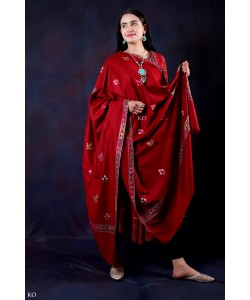 Red Sozni Embroidered Handwooven Pashmina shawl