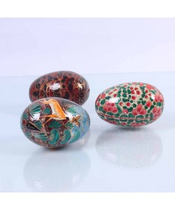 Multicolor Paper Mache Eggs(Set of 3)