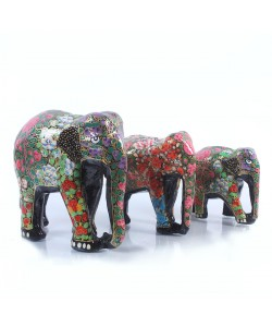 Multicolor Handcraft Elephant (set of 3)