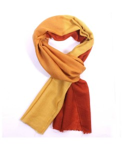Rust And Brown Dip Dye Cashmere Pashmina Scarf