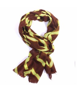 Brown and Green Dip Dye Cashmere Pashmina Scarf