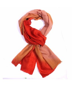 Rusty Brown & Red Dip Dye Cashmere Pashmina Scarf
