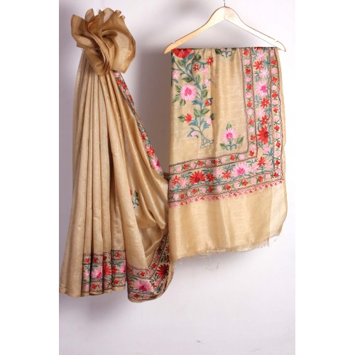 Beige Floral Embroidred Silk Saree