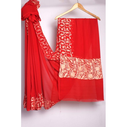 Pasley design Aari Embroidered Red Georgette Saree